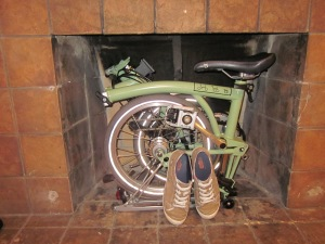 Home storage of the Brompton (with my sneakers for scale)