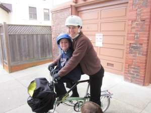 Our son is now well over four feet tall and he still fits on the Brompton.