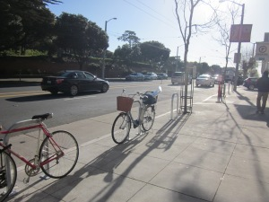 Check it out! Six shiny new bike racks!