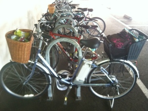 "Truthfully, the mamachari is better as a ""ride right up to the farmers market stand and dump stuff in the baskets"" bike."