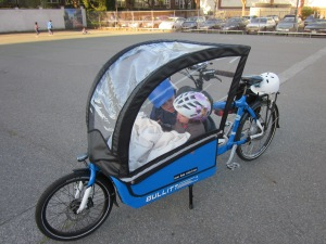 People keep asking, so here's proof: you can fit 2 kids side by side in a Bullitt under the canopy. They are four and seven and were discussing Antarctica.