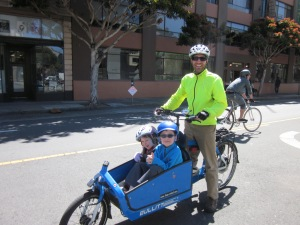 We arrive at Sunday Streets. No more cover; it's spring in San Francisco.