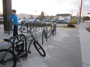 Grocery store parking: giant beach cruisers