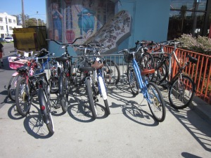 The bike racks at the boardwalk were packed.