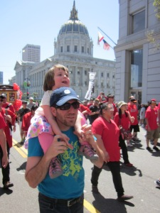 Shortly before I was hit, we marched in the Cherry Blossom Parade with our son's school.