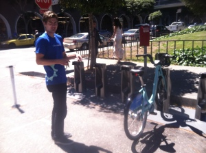 The first bike arrives at the bike share station.