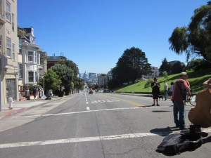 Looking down at City Hall from Alamo Square--Postcard Row is hidden behind the tree on the right.