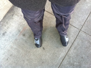 Rain pants, rain boots. Not seen: dress pants, merino wool long underwear.