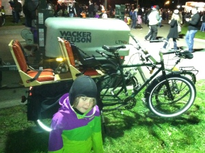 Check out the cool seats on this Xtracycle: they glitter. (Apologies for the spawn photobomb.)