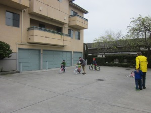 There's a largely unused parking lot behind the shop, great for kids' test rides