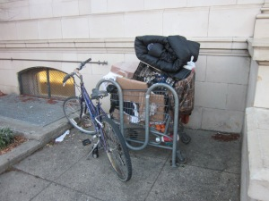 A bike rack can't hold much more than one shopping cart.