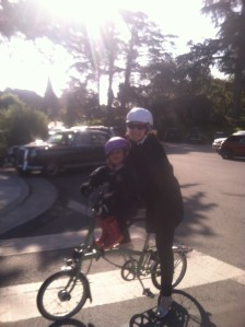 Riding the Brompton with a kid never gets old