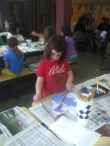 She learned how to mix in white paint to make light colors.