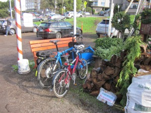 It's easy to park cars at the Christmas tree lot, but it's even easier to park bikes.