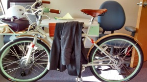 It's not just a bike, it's also a coat rack.