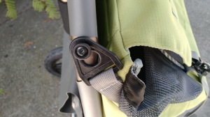 A closeup of the clever clip for attaching bags (four per bag)