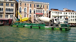 Cement trucks on a barge! Words fail me.