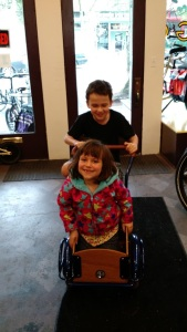 My kids on the G&O Cyclery incredible kids' cargo trike