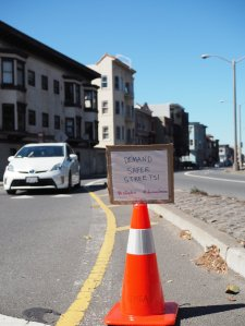 Bike path crossing Lincoln at 3rd Avenue (photo courtesy SFMTrA)